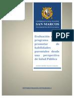 Ensayo Sobre Evaluación de Un Programa Piloto Promotor de Habilidades Parentales Desde Una Perspectiva de Salud Pública. PAREDES ADASME, David Luis Sebastián