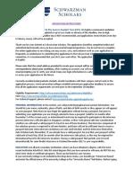 Schwarzman Scholars 2017 Application Instructions