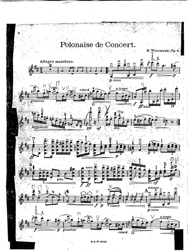 Henryk Wieniawski Polonaise De Concert Op 4