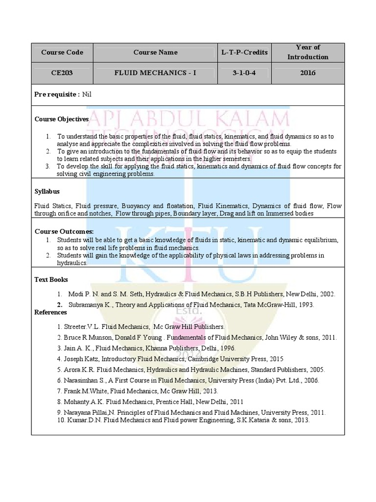 CE203 Fluid Mechanics I pdf | Fluid Dynamics | Boundary Layer