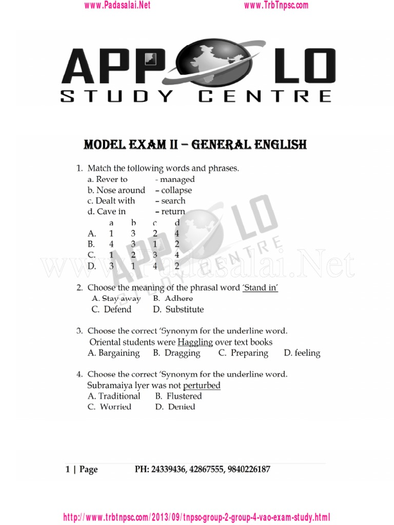 Tnpsc Group2 English Model Exam | Linguistics | Poetry