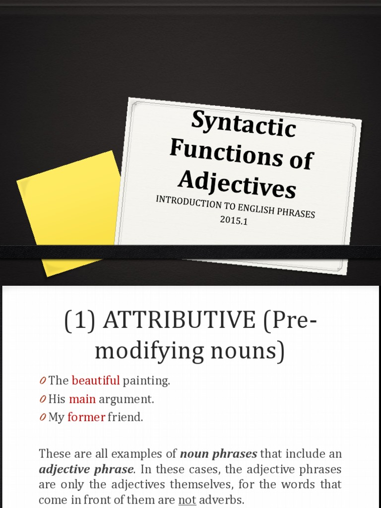 Syntactic Functions Of Adjectivespptx