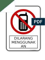 Simbol Larangan Guna Telefon