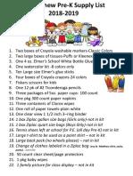 School Supply List 2018-2019
