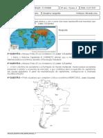 Avaliação de Geografia II Unidade - 8º Ano B