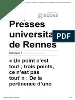 Stylistiques _ - «Un Point c'Est Tout; Trois Points, Ce n'Est Pas Tout»_ de La Pertinence d'Une Marque Explicite d'Implicite - Presses Universitaires de Rennes