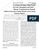 The Parity Rate of Indoor-Resting Adult Female Anopheles and Culex Mosquitoes and Their Implication in Disease Transmission in Nnamdi Azikiwe University Female Hostels Awka, South Eastern Nigeria