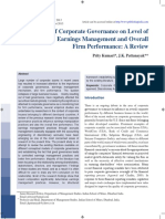 Impact of Corporate Governance on Level of Earnings Management and Overall Firm Performance a Review