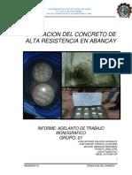 Concreto de Alta Resistencia Experimentacion en Abancay