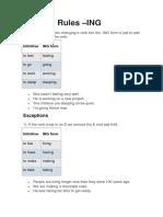 Spelling Rules -InG