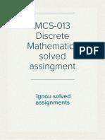 MCS-013 Discrete Mathematics solved assingment by  ignousolvedassignments.com