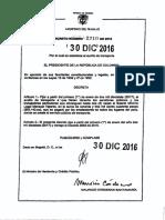 Decreto 2210 de 30 de Diciembre de 2016