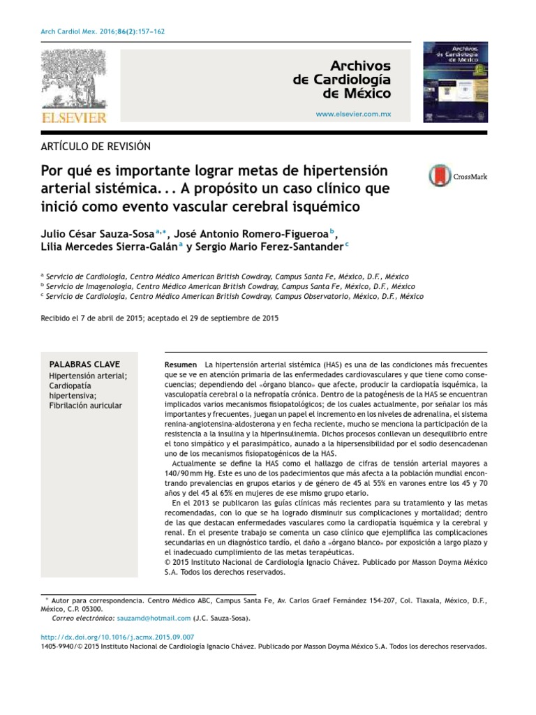 Hipertension Arterial Sistemica - Infarto de miocardio..