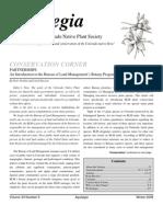 Winter 2009 Aquilegia Newsletter, Colorado Native Plant Society