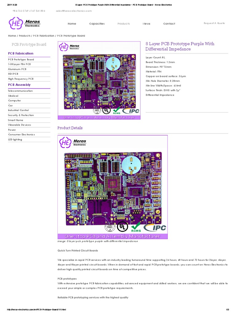 8 Layer Pcb Prototype Purple With Differential Impedance Printed Circuit Board Manufacturer Buried Blind Via For Sale Heros Electronics
