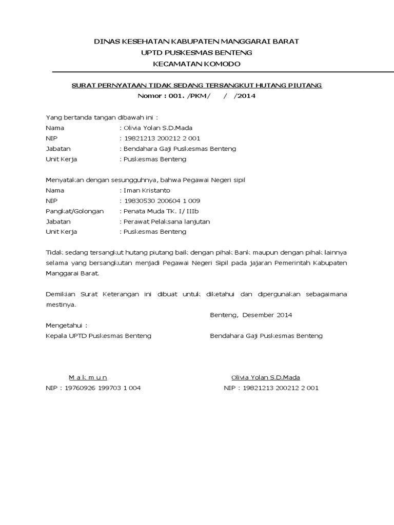 Surat Bebas Hutang Piutang Docx