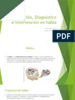 Evaluación, Diagnóstico e Intervención en Habla
