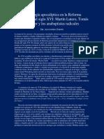 Zorzín-Escatología Apocalíptica en La Reforma Protestante Del Siglo XVI-Martín Lutero, Thomas Müntzer y Los Anabaptistas Radicales