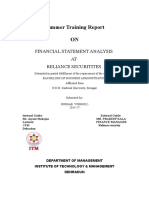 Financial Statement Analysis of Relinace