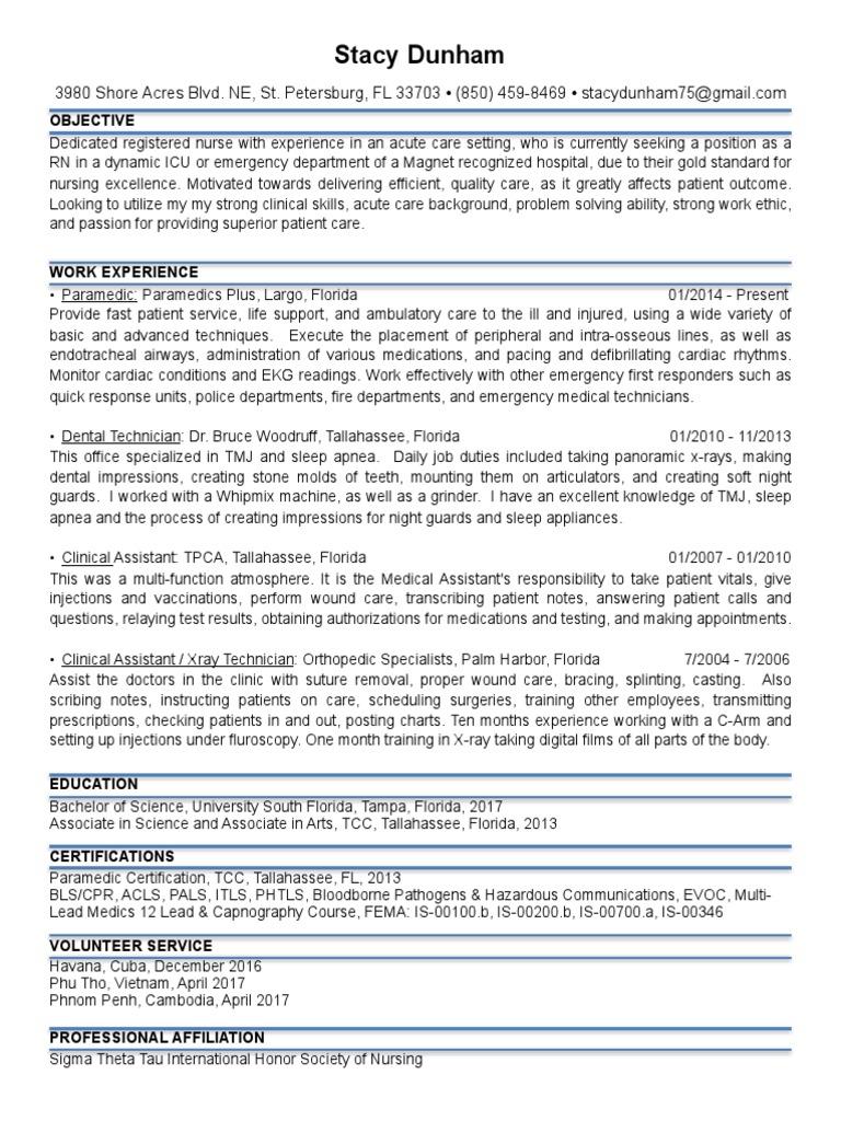 Resume Pdf Paramedic Emergency Medical Technician