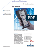 Emerson HART 375 Field Communicator Specifications Spec Sheet