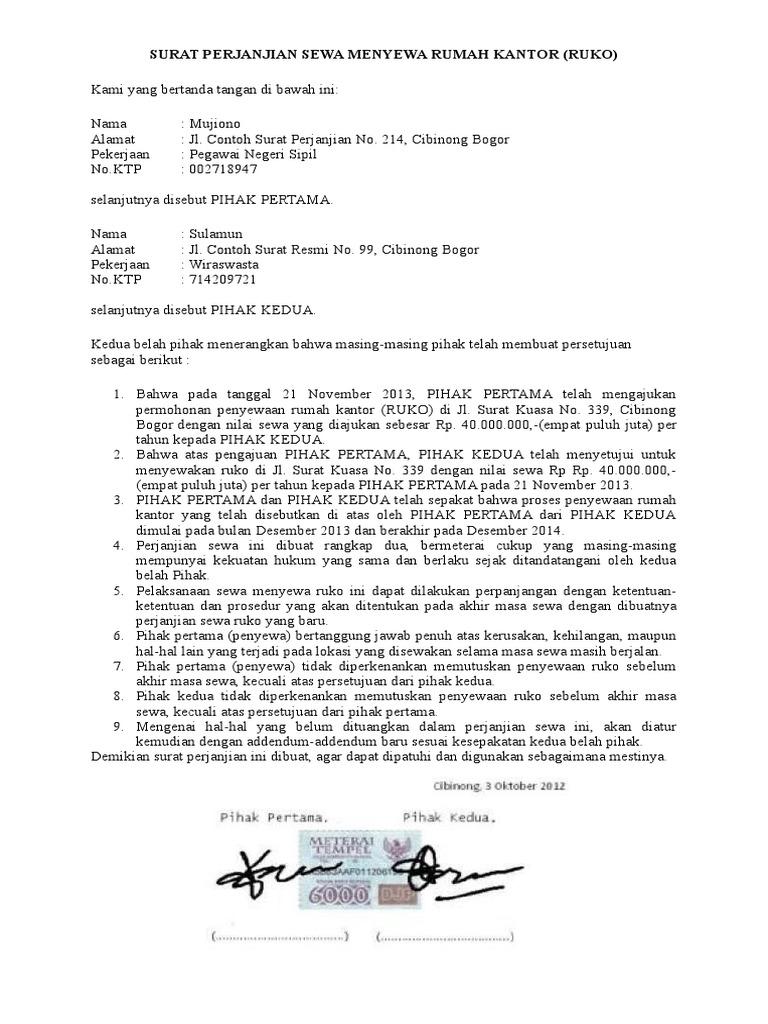 Surat Perjanjian Sewa Menyewa Rumah Kantor Docx