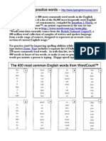 400 Most Common Words Typing List