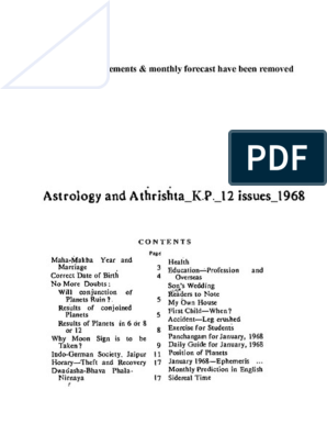 Astrology and Athrishta_K P _12 issues_1968 pdf pdf | Astrology