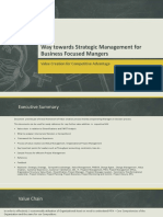 Value Creation, Competitive advantage, Strategic Program Management for Business Focused Project Managers
