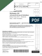 June 2014 (R) QP - M1 Edexcel