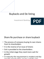 Buybacks and de Listing