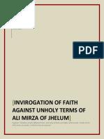 Invirogation of Faith anainst the faithless terms of Ali Mirza of Jhelum