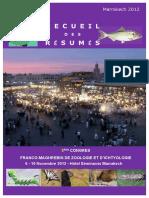 RECUEIL DES RESUMES ‐ 3ème Congrès de Zoologie et d'Ichtyologie ‐ Marrakech 2012