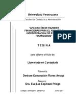 Aplicacion de Razones Financieras Para El Analisis e Interpretacion de Estados Financieros