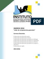 Taller de Competencias Generales (Cuadernillo Estudiantes) - Ingreso 2016 (RV2)