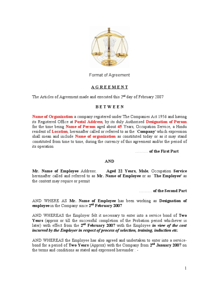 Employee+Bond+Agreement | Damages | Breach Of Contract  Format For Agreement