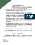 Affidavit of Discrepancy - Baldelomar (Name and Father's Name)