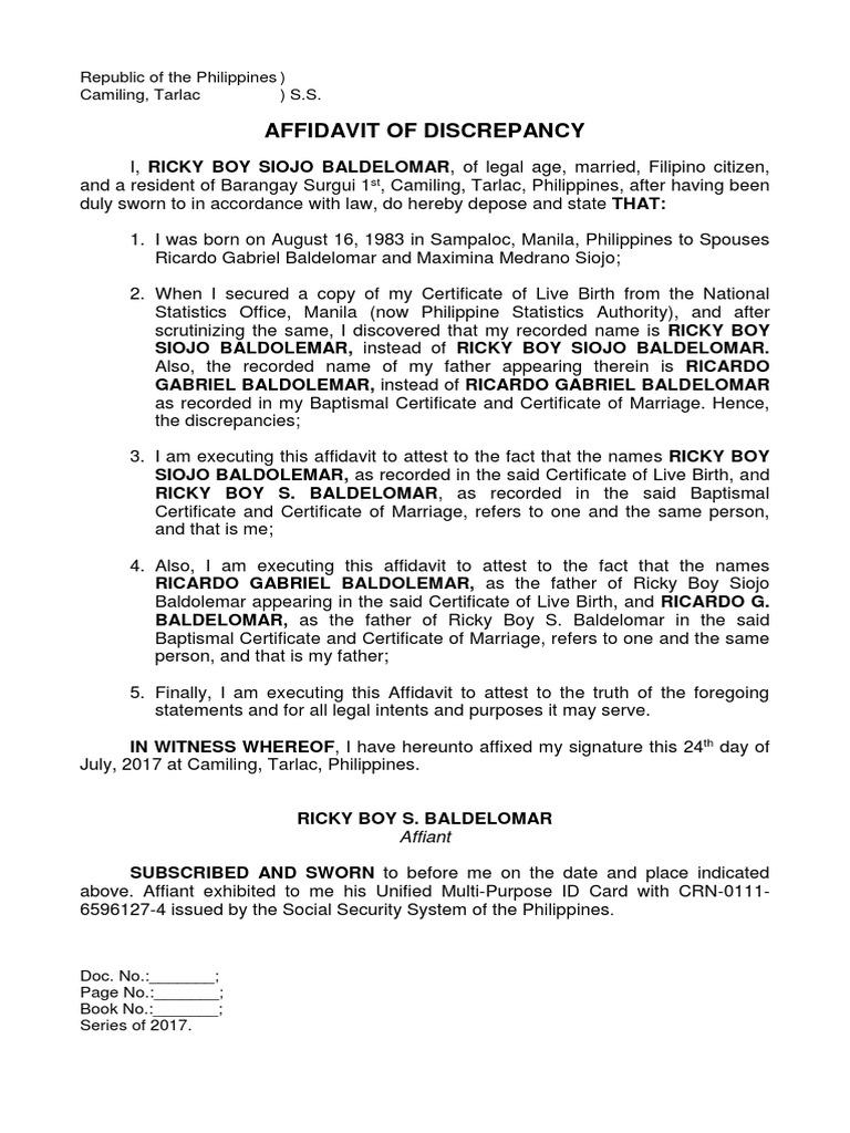 Affidavit Of Discrepancy Baldelomar Name And Father S Name