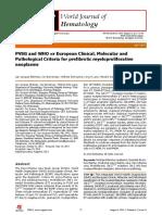 PVSG and WHO vs European Clinical, Molecular and Pathological Criteria for Prefibrotic Myeloproliferative