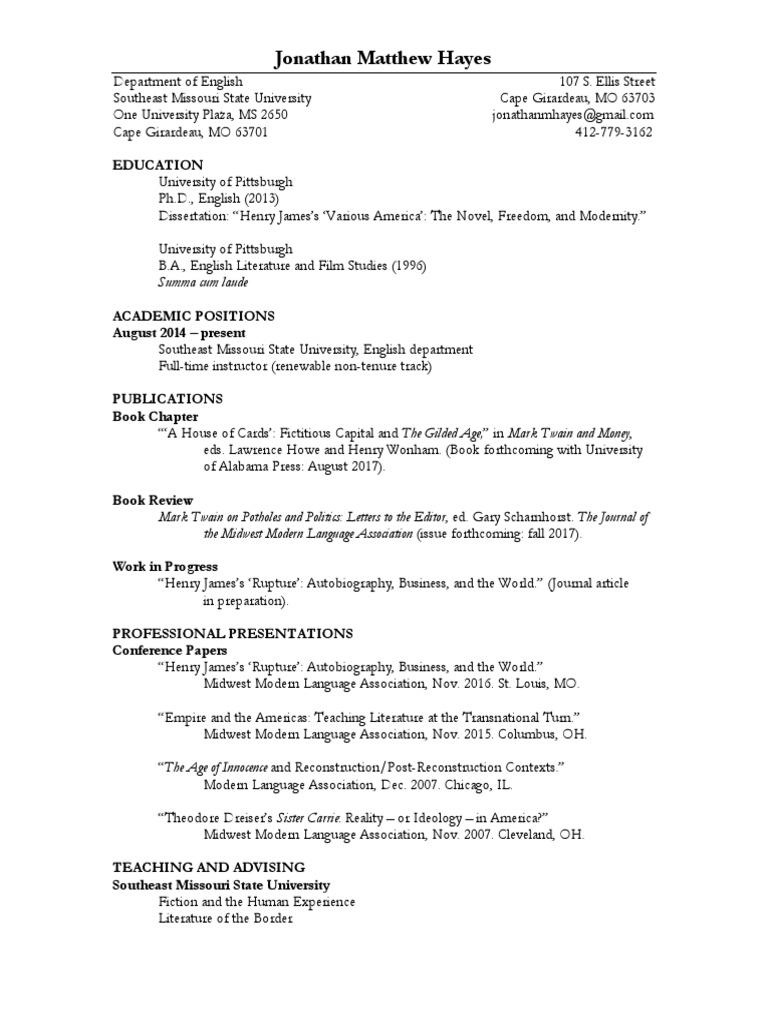 Hayes Cv June 2017 L3 Academia Languages