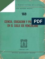 Ciencia, Educacion y Positivismo en El Siglo Xix Venezolano