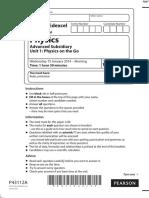 January 2014 (IAL) QP - Unit 1 Edexcel Physics a-level