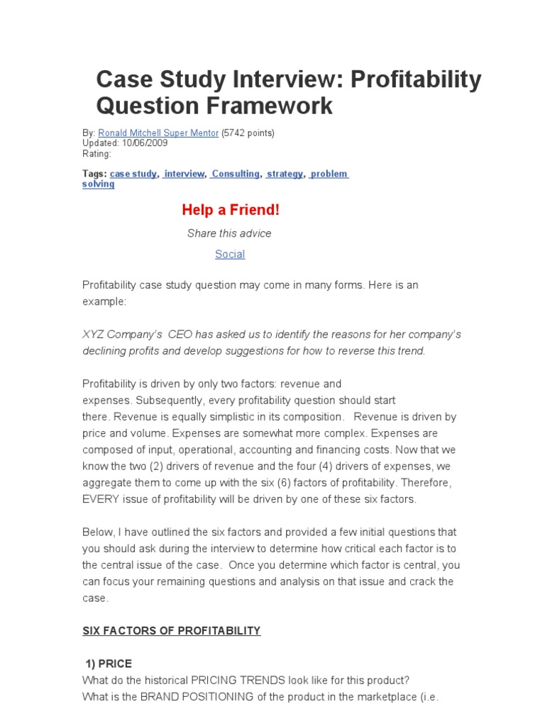 Case Study Example For Interview - Case Study Interview