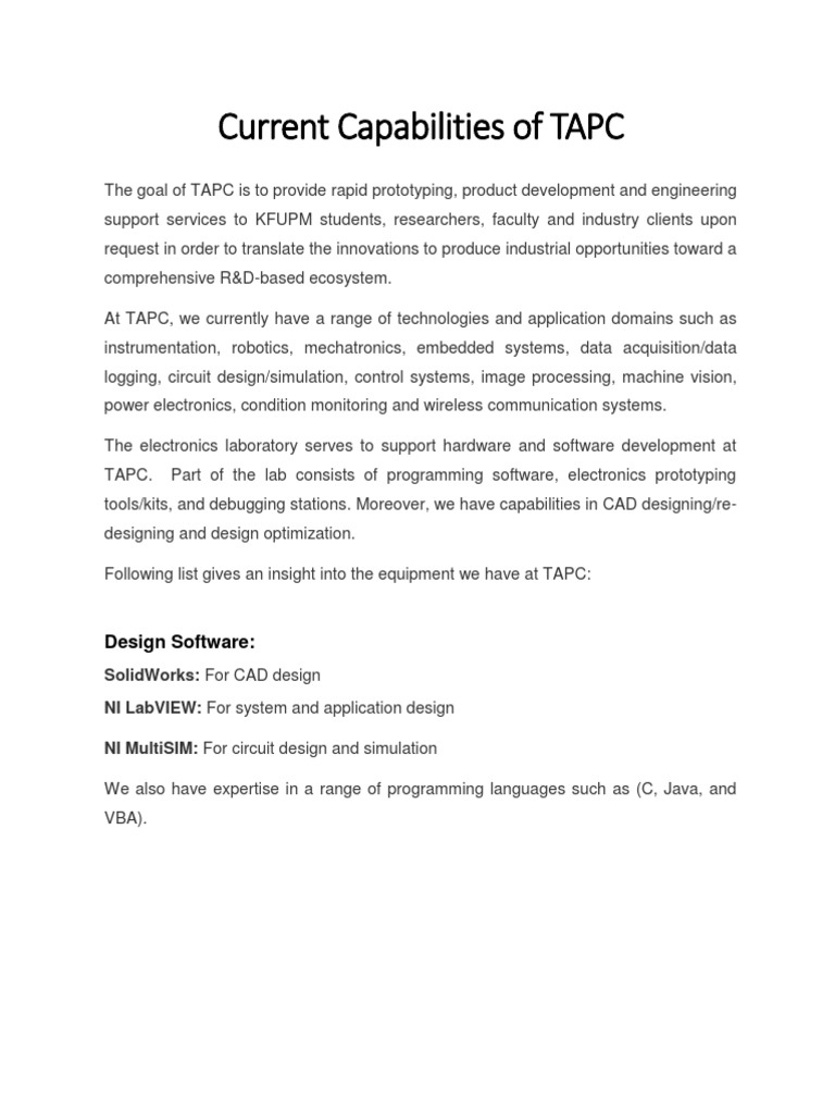 Capabilities Of Tapc Electronics Technology Electronic Circuit Design Services