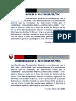 COMUNICADO Nª 1 Fiestas Patrias