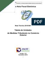 NT2016 001 V1.10 - Unidades de Medidas Tributaveis No Comercio Exterior
