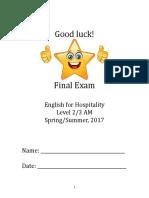 l2 3 am final written exam for spring summer 2017