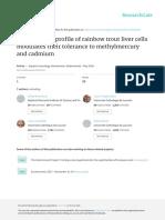Ferain Et Al, 2016 - The Fatty Acid Profile of Rainbow Trout Liver Cells Modulates Their Tolerance to Methylmercury and Cadmium