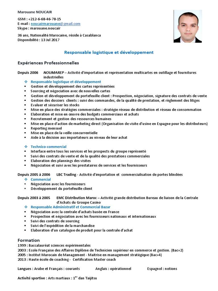 Marouane Noucair Cv Distribution Business Commerce