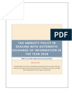 Tax Amnesty Policy in Dealing With Automatic Exchange of Information in the Year 2018